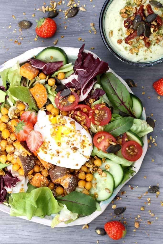 Summer Buddha bowl -Vegan Parmesan Sweet potato, Chickpeas & Avocado-Tahini-Lime Dressing - Truefoodsblog
