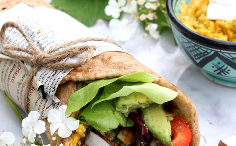 Vegetable stuffed wholegrain Naan Wrap - Truefoodsblog