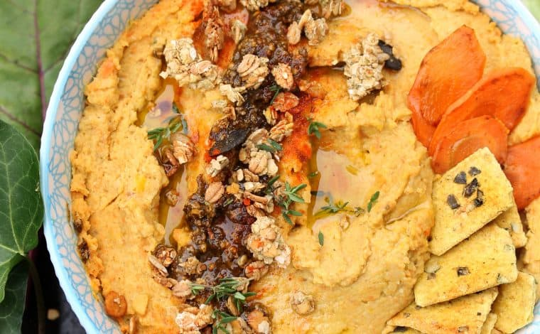 Honey Glazed Carrot Hummus- Truefoodsblog