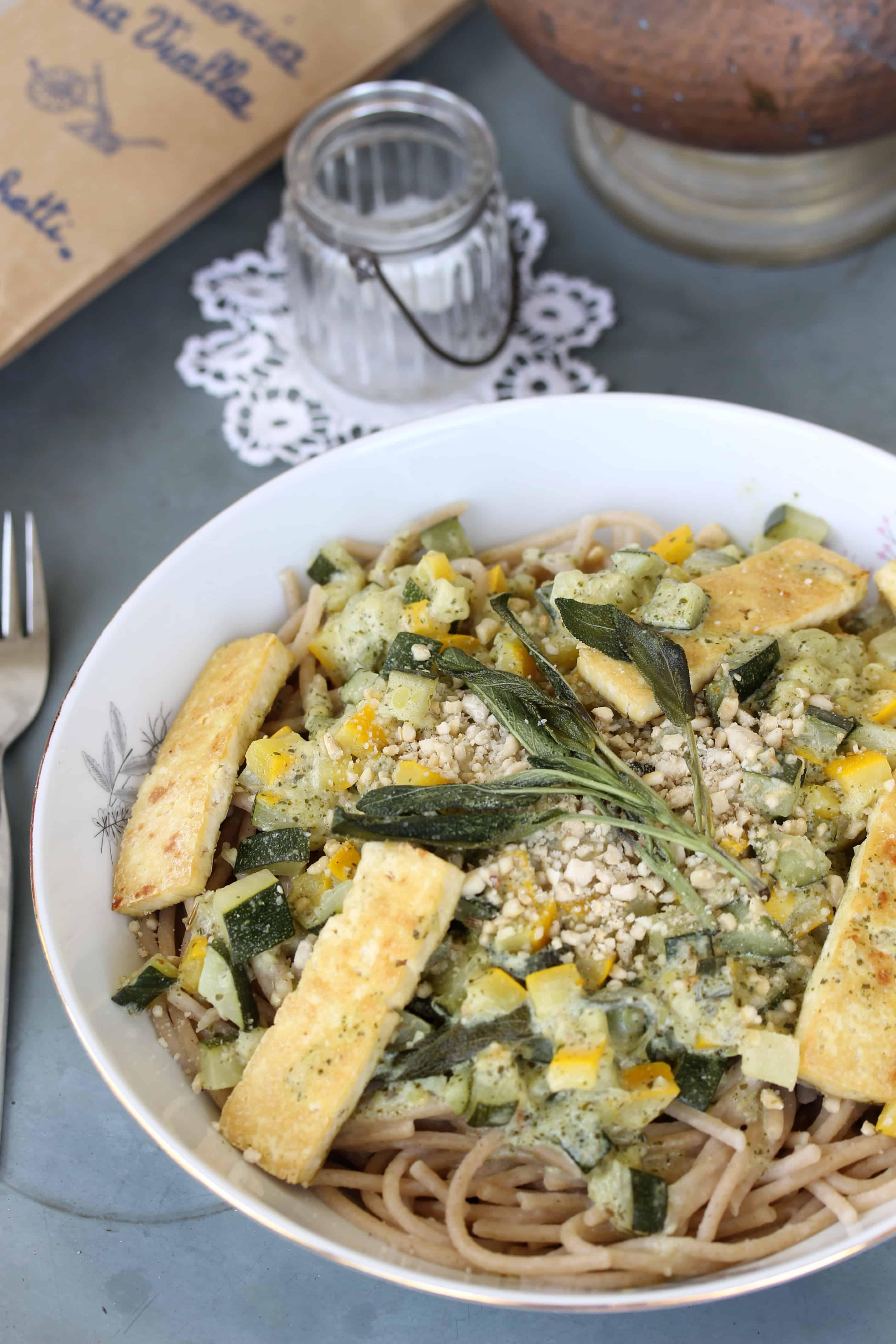Barley Pasta, Vegan Zucchini Pesto Carbonara & Tofu Saltimbocca