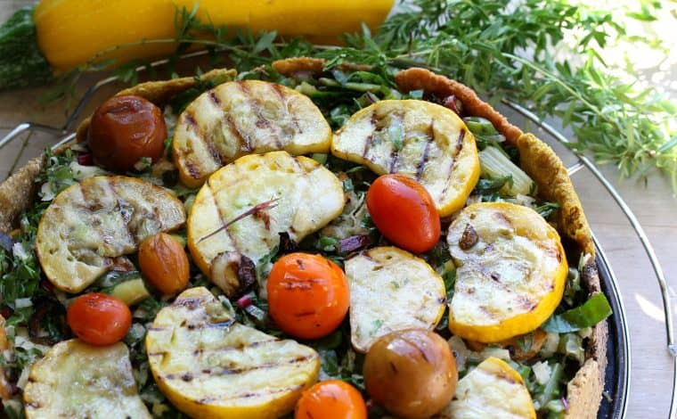 Colourful Grilled Garden Vegetables Herb Tart