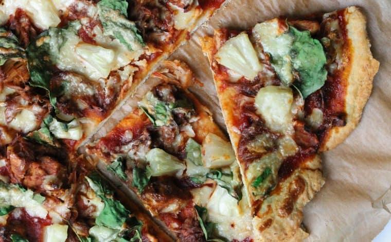 BBQ Jackfruit Pineapple Spinach Pizza- Truefoodsblog