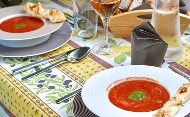 Watermelon Tomato Gazpacho by Truefoodsblog