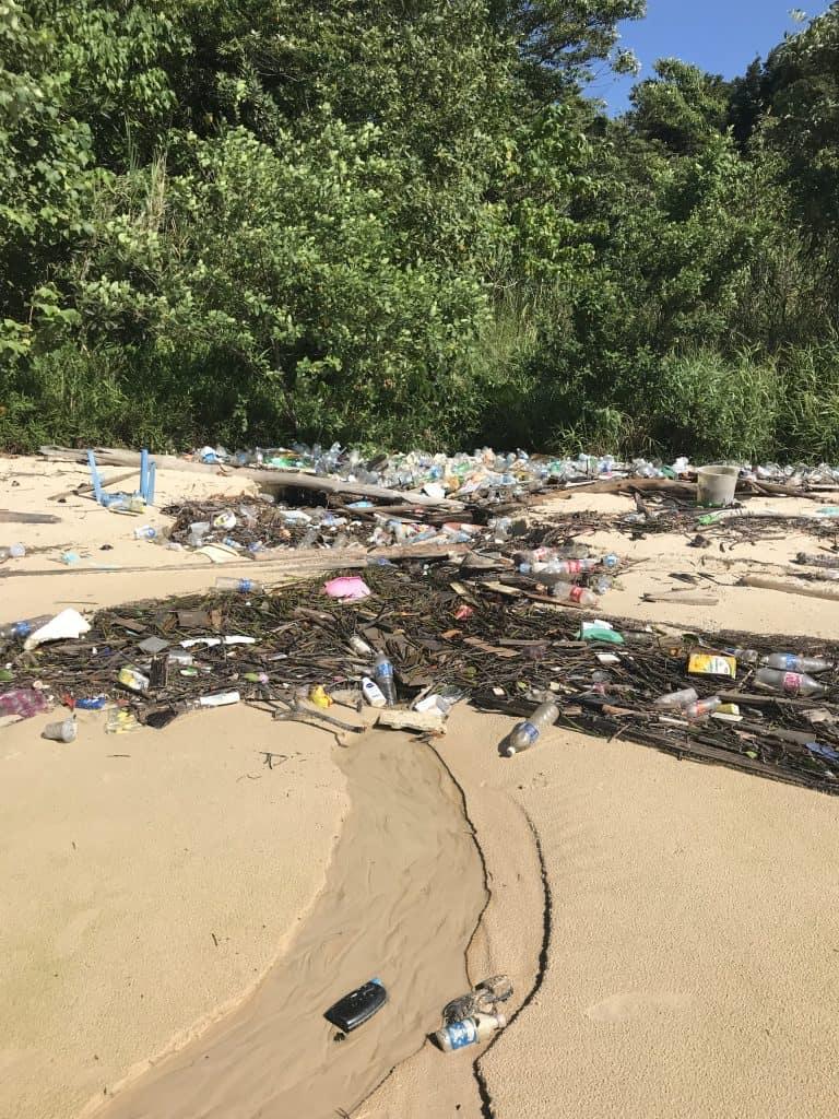 A plastic poluted beach on the shores of Boreno, 2018