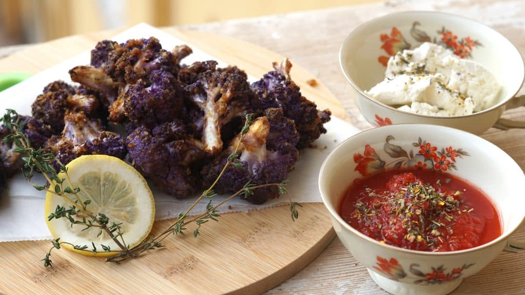 Vegan Purple Cauliflower Wings by Truefoodsblog 2