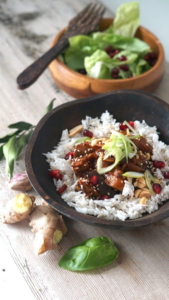Korean Stir Fry Eggplant with Sesame Rice by Truefoodsblog