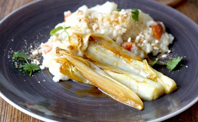 Vegan Risotto with Orange-Chicory